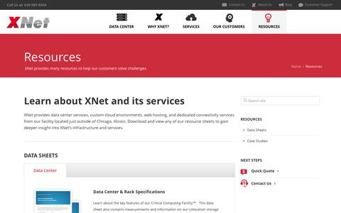 Screenshot of Case Studies Page xnet.com - Resources and Case Studies | XNet Data Center Services - captured Sept. 30, 2014