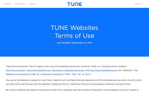 Screenshot of Terms Page tune.com - TUNE   Terms of Use - captured Nov. 2, 2014