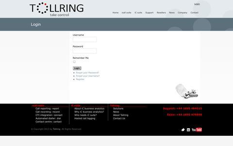 Screenshot of Login Page tollring.com - Login - captured Sept. 30, 2014