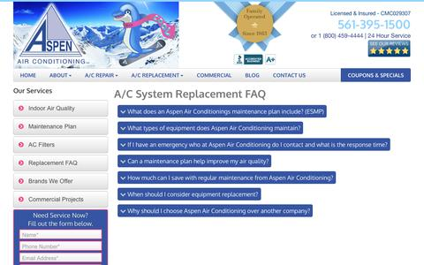 Screenshot of FAQ Page aspenac.com - AC Replacement Boca Raton | FAQ | 561-395-1500 - captured Nov. 21, 2016