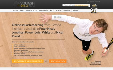 Screenshot of Home Page squashskills.com - Squashskills - Conquer the Court - captured Sept. 19, 2014