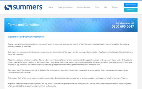 Screenshot of Terms Page summersproperty.com - Terms and Conditions | Summers Property - captured Oct. 18, 2018