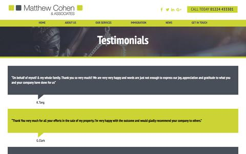 Screenshot of Testimonials Page matthewcohen.co.uk - What our clients say | Matthew Cohen & Associates - captured Oct. 4, 2017