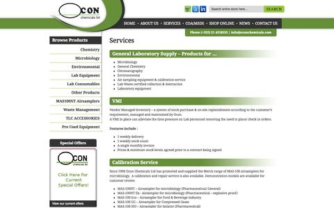 Screenshot of Services Page oconchemicals.ie - Laboratory Supply Services | Chemical Recycling - Ireland - captured Oct. 7, 2014