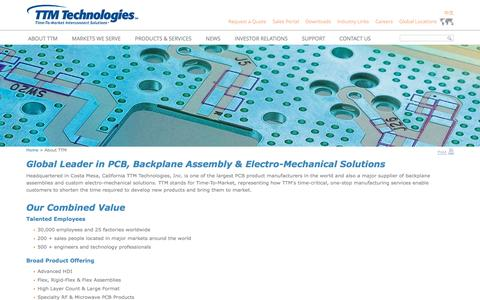 Screenshot of About Page viasystems.com - Global Leader in PCB, Backplane Assembly & Electro-Mechanical Solutions - TTM Technologies, Inc. - captured Aug. 11, 2016