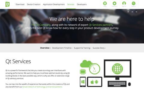Screenshot of Services Page qt.io - Services - Qt application & UI development framework - captured March 4, 2016
