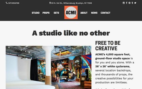 Screenshot of About Page Maps & Directions Page acmebrooklyn.com - Photography and Production Studio Rental NYC, Brooklyn, Manhattan | ACME Studio - captured Nov. 19, 2016