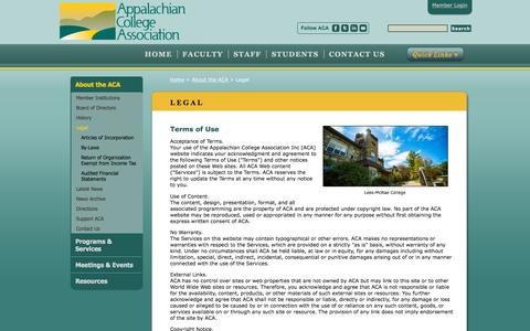 Screenshot of Terms Page acaweb.org - Appalachian College Association - Legal - captured Sept. 22, 2018