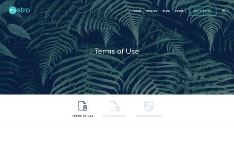 Screenshot of Terms Page mystro.co - Terms of Use | Mystro - captured Feb. 15, 2016