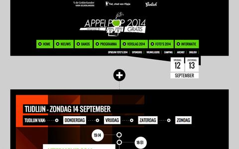 Screenshot of Home Page appelpop.nl - Appelpop 2014 - captured Oct. 7, 2014