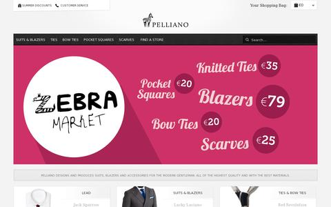 Screenshot of Home Page pelliano.com - Suits, blazers, ties and accessories for the modern gentleman  | Pelliano - captured July 11, 2014