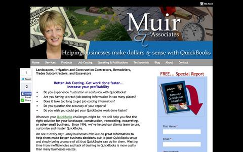 Screenshot of Home Page muirassoc.com - QuickBooks Landscaping Lawn Care Irrigation Job Costing Frederick MD Home - captured Oct. 8, 2014