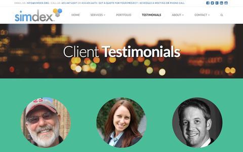 Screenshot of Testimonials Page simdex.org - Testimonials – SimDex - captured Dec. 10, 2016