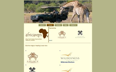 Screenshot of Products Page africareps.com - Africa Reps > Products - captured Sept. 30, 2014