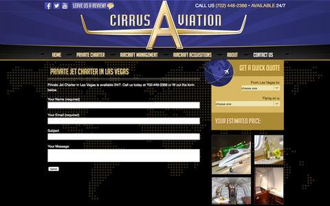 Screenshot of Contact Page cirrusav.com - Private Jet Charter Las Vegas | 702-448-2366 | Cirrus Aviation - captured Nov. 2, 2014