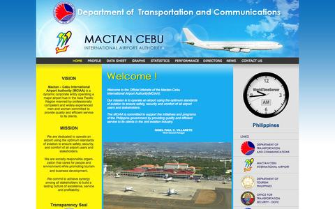 Screenshot of Home Page mciaa.gov.ph - MACTAN CEBU INTERNATIONAL AIRPORT - captured Oct. 4, 2014
