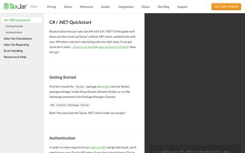 Screenshot of Developers Page taxjar.com - Sales Tax API Guide for C# / .NET - TaxJar Developers - captured Nov. 7, 2017