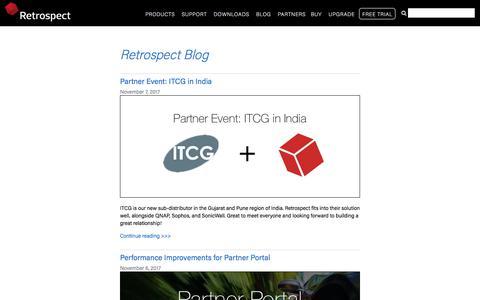 Screenshot of Blog retrospect.com - Retrospect Blog - captured Nov. 10, 2017