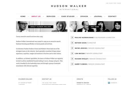Screenshot of About Page hudsonwalker.com - About Hudson Walker | Specialist Recruitment Agency London - captured Oct. 3, 2014