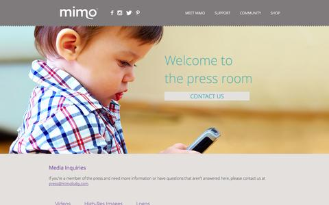Screenshot of Press Page mimobaby.com - Mimo - The Smart Baby Monitor - captured Sept. 17, 2014