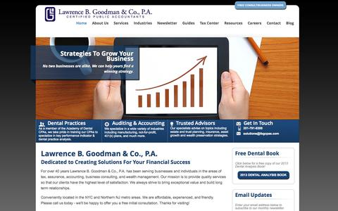 Screenshot of Home Page lbgcpas.com - Fair Lawn, New Jersey Accounting Firm | Home Page | Lawrence B. Goodman & Company - captured Oct. 2, 2014