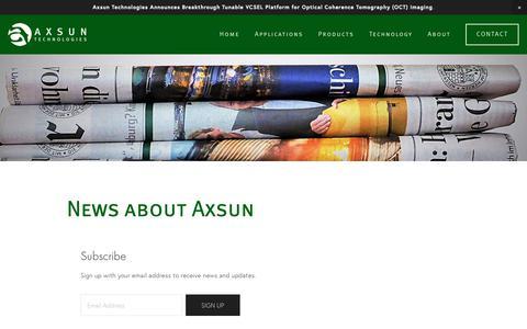 Screenshot of Press Page axsun.com - Press & Announcements — Axsun Technologies - captured Nov. 3, 2018