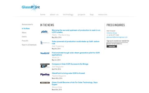 Screenshot of Press Page glasspoint.com - In the News Archives - GlassPoint - captured July 20, 2014
