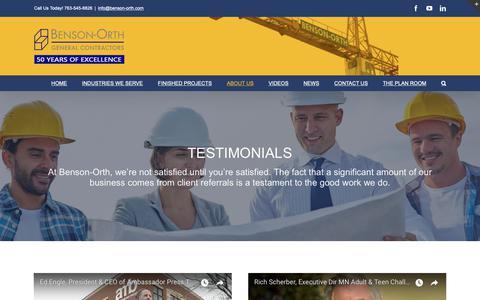 Screenshot of Testimonials Page benson-orth.com - Testimonials – Benson-Orth Associates - captured Oct. 5, 2018