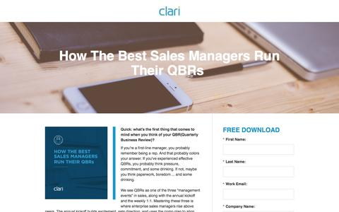 Screenshot of Landing Page clari.com - eBook: How The Best Sales Managers Run Their QBRs - captured July 10, 2016