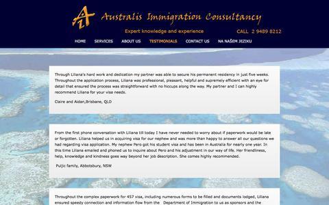 Screenshot of Testimonials Page australisimmigration.com - Testimonials | Australis Immigration - captured Feb. 6, 2016