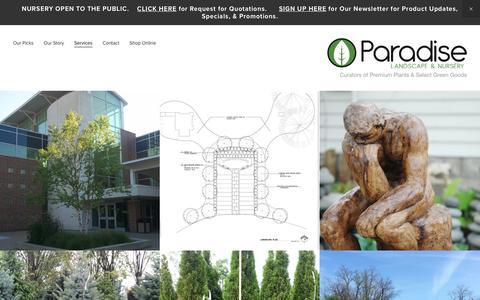 Screenshot of Services Page paradiseplants.com - Services — Paradise Landscape & Nursery - captured Jan. 25, 2016
