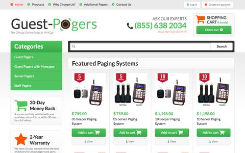 Screenshot of Home Page guest-pagers.com - Guest, Server & Staff Paging Systems | Guest-Pagers.com - captured July 9, 2018
