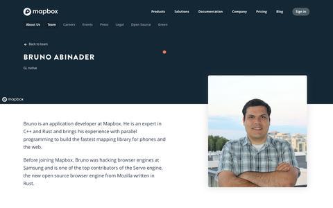 Screenshot of Team Page mapbox.com - Bruno Abinader   Mapbox - captured Feb. 19, 2019