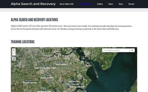 Screenshot of Locations Page alphasar.org - Training Locations | Alpha Search and Recovery - captured Feb. 5, 2016
