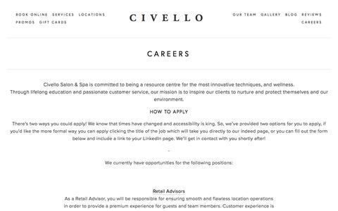 Screenshot of Jobs Page civello.com - CAREERS — CIVELLO - captured Jan. 10, 2018
