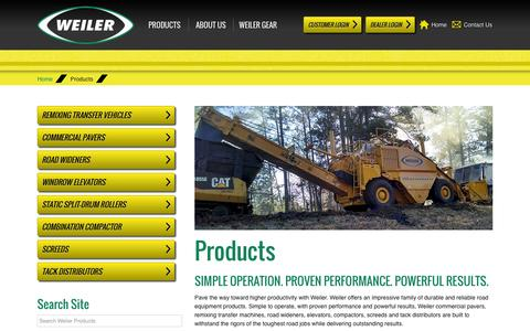 Screenshot of Products Page weilerproducts.com - Weiler | Products - captured Oct. 26, 2014