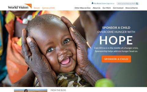 Screenshot of Home Page worldvision.org - Sponsor a Child | World Vision - captured June 27, 2017