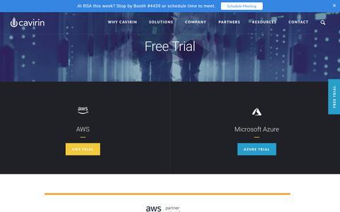 Screenshot of Trial Page cavirin.com - Free Trial - captured April 17, 2018