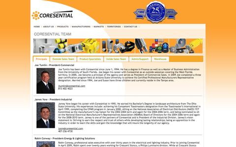 Screenshot of Team Page coresential.com - CORESENTIAL - captured Sept. 30, 2014