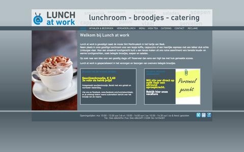 Screenshot of Home Page lunch-at-work.nl - Welkom bij Lunch at work - captured Oct. 3, 2014