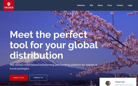 Screenshot of Home Page nezasa.com - Nezasa – Nezasa Travel Technologies - captured March 3, 2016