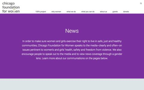 Screenshot of Press Page cfw.org - News - Chicago Foundation for Women - captured Jan. 27, 2016