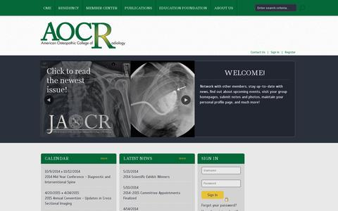 Screenshot of Home Page aocr.org - American Osteopathic College of Radiology - captured July 12, 2014