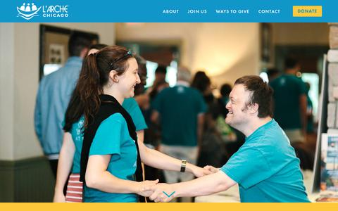 Screenshot of Home Page larchechicago.org - L'Arche Chicago - captured July 14, 2018