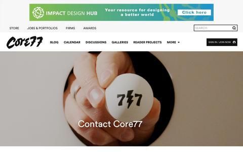 Screenshot of Contact Page core77.com - Contact - Core77 - captured Dec. 12, 2015