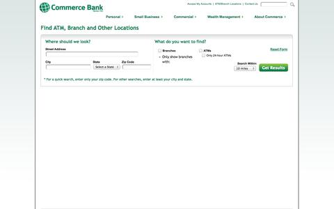 Screenshot of Locations Page commercebank.com - Find ATM and Branch Locations | Commerce Bank - captured Sept. 18, 2014