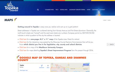 Screenshot of Maps & Directions Page topekachamber.org - Maps - Greater Topeka Chamber of Commerce - captured Sept. 26, 2018
