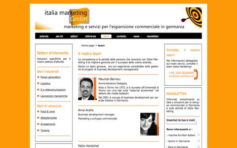 Screenshot of Team Page italia-marketing.com - Italia Marketing GmbH - Il team - captured Oct. 6, 2014