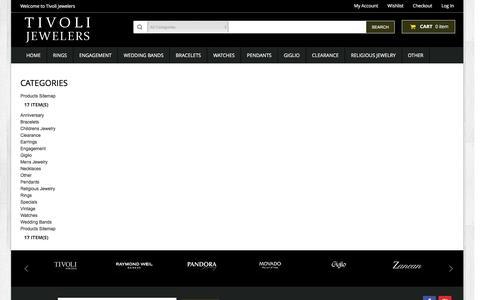Screenshot of Site Map Page tivolijewelers.com - Tivoli Jewelers - captured Feb. 26, 2016