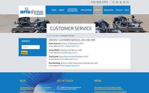 Screenshot of Support Page arisdyne.com - Customer Service | Arisdyne - captured Sept. 13, 2014